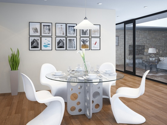 Bubble round concrete table with glass top for dining room