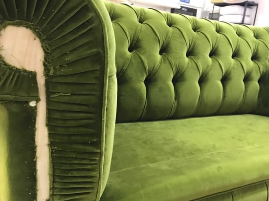Replacing the cover of a chester sofa