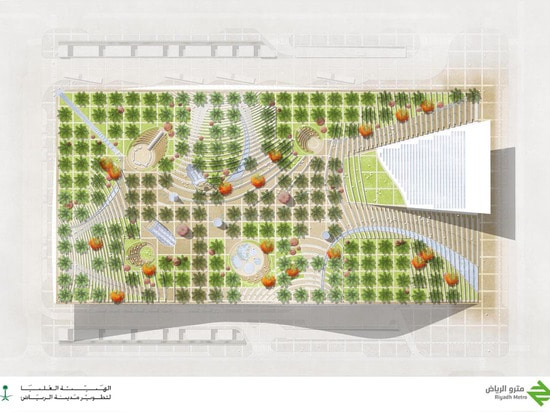 The oasis-like building is topped with a large rooftop park planted with palm trees in a grid formation.   Read more: Lush green oasis will top Saudi Arabia's new dune-inspired metro station Olaya ...