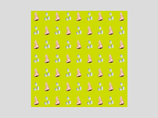'Nose/Popcorn - Yellow/Green' by John Baldessari. The American-born artist uses vibrant colours, adding to the playful quirkiness of his designs. Courtesy of Maharam and Serpentine Galleries