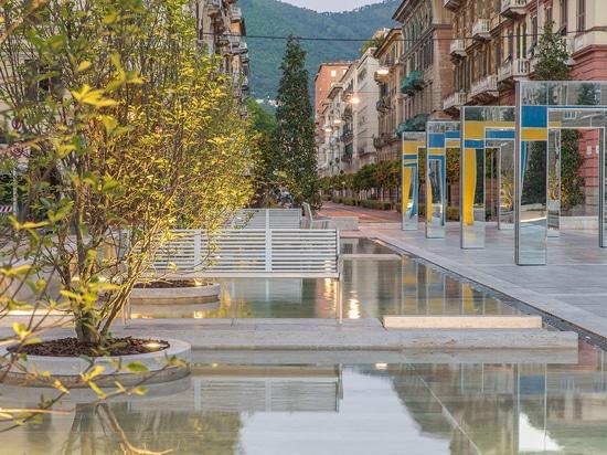 Travertine fountains on Verdi Square