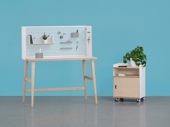 Consisting of desk, cabinet on wheels, wall panels, mirror, mobile shelves and 3D-printed accessories, the Lad modular furniture system by Grynasz Studio for Fam Fara allows unlimited customization...