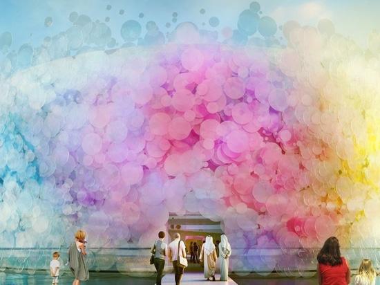paul cocksedge designs 'impossible' living watercolor pavilion for expo 2020 dubai