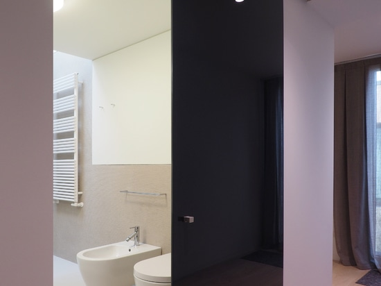 Double-sided finishes enhance the design of the Vitra externall wall sliding door