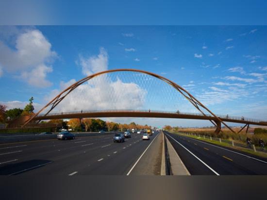 Palo Alto footbridge will span the 14 lanes of San Francisco's 101 freeway