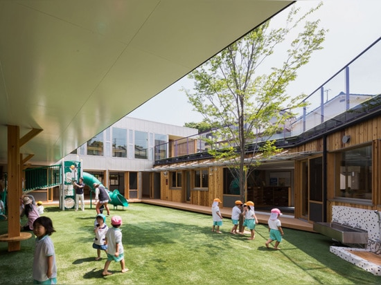 the design team positioned the playground at the center of the plan