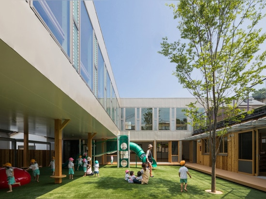 a partially sheltered inner area is created where children can play in a secluded environment