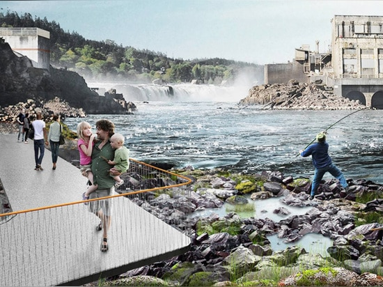 the project seeks to create a waterside destination that connects people to the falls