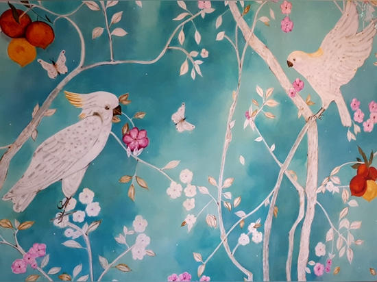 Turquoise sweet Tropical, hand painted mural by K. Fabrizzi
