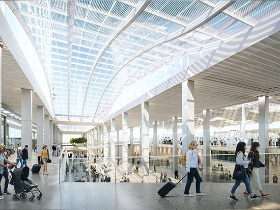 SOM unveils 'light-filled' proposal for chicago's new o'hare global terminal