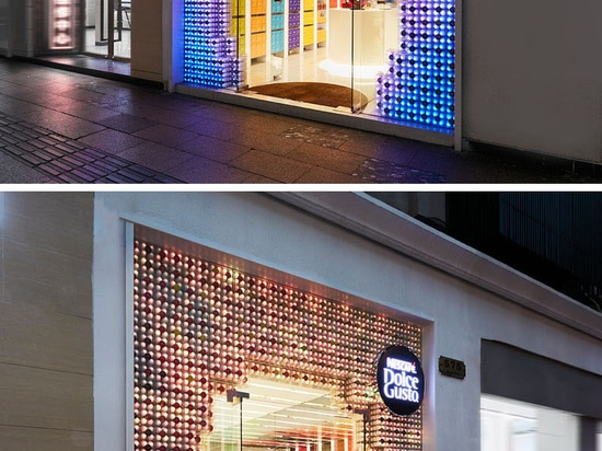 3,000 Coffee Capsules With Programmable LED Lights Have Been Used To Create This Retail Facade