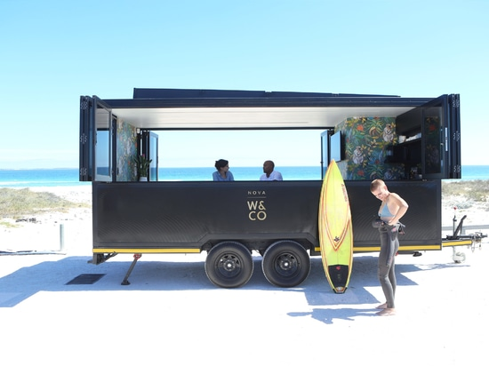 The Nova pod is a solar-powered co-working office on wheels