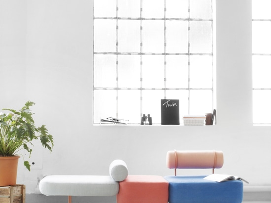 The textiles for the Hoff sofa were custom made in collaboration with Kioshi Yamamoto. The colors and form can be switched up to suit the user.