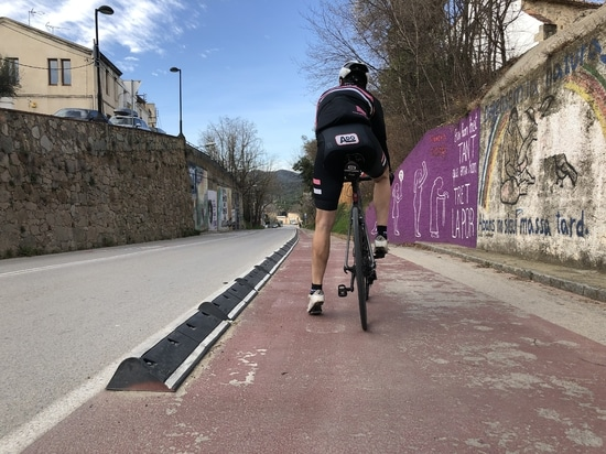 Cycle lane separator in Argentona