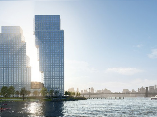 OMA's greenpoint landing towers seek to activate the brooklyn waterfront