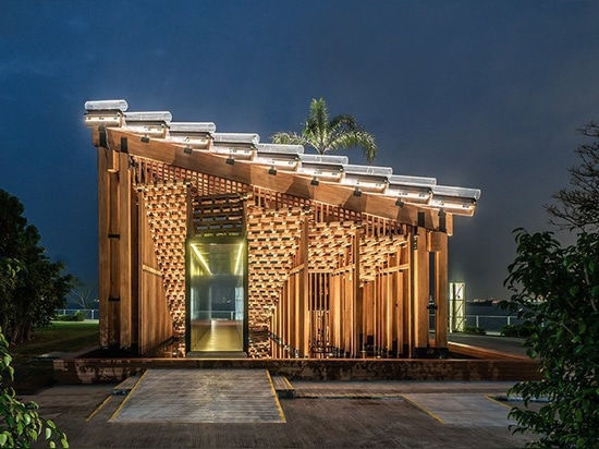 new office works constructs temporary pavilion on the west kowloon waterfront