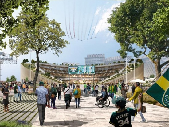 bjarke ingels group revises design for the oakland A's new ballpark