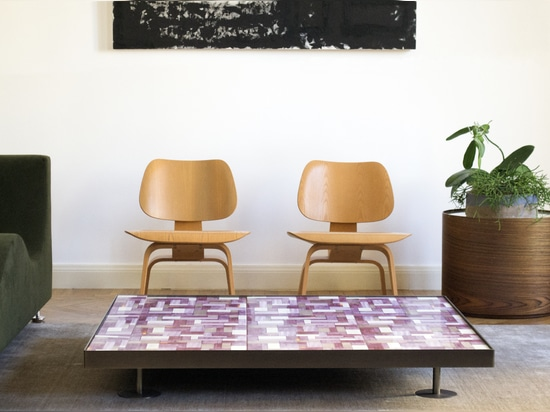 Sofia Wall Paper Coffee Table in Plum