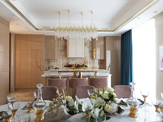 Coral Meets Gold in a Luxury Kitchen