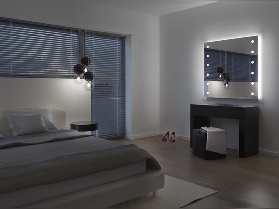 Lighted mirror for bedroom