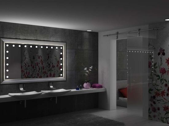 Unica framed lighted batrhoom mirror