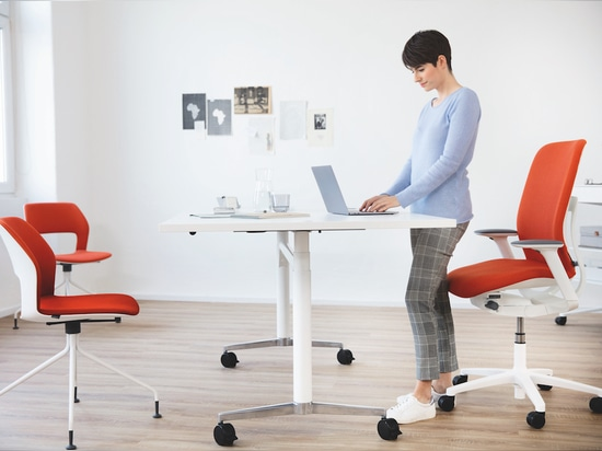 The AT ESP chair is ideal for sitting or standing at a desk, or just perching on. Photo: Wilkhahn