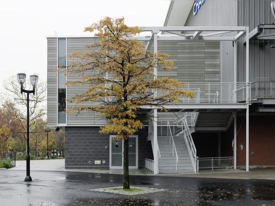USTA Ticket Office clad with öko skin slats