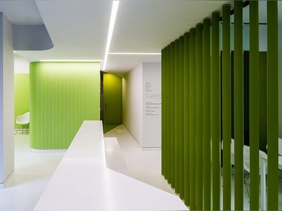 Green color is always located in public uses: accesses, corridors, waiting room and patient care office. In these cases it is located indistinctly in walls, ceilings and floors.