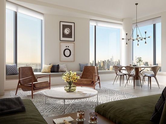 window nooks with built-in seating offer sweeping city views