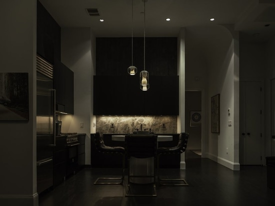 the open-plan kitchen and dining area