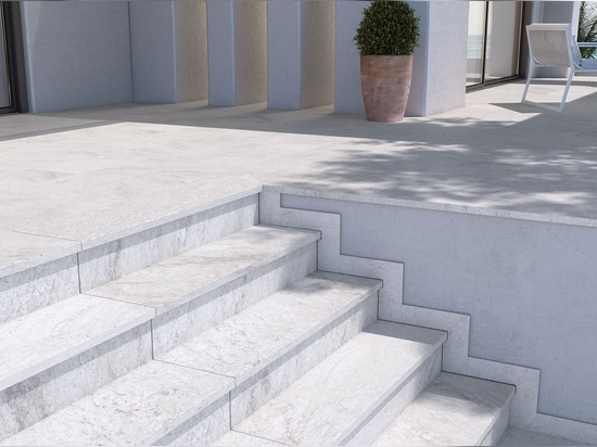1200 mm step tiles White Stone. Evolution Series.