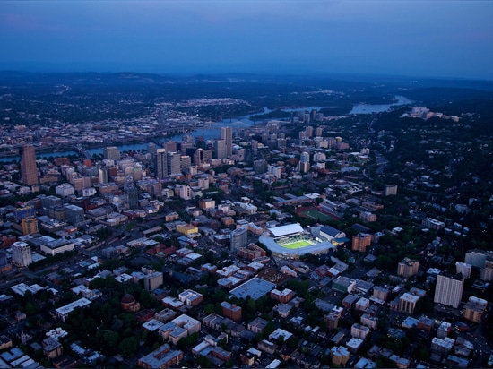 An aerial image of Providence Park at night. (Craig Mitchelldyer/Portland Timbers)