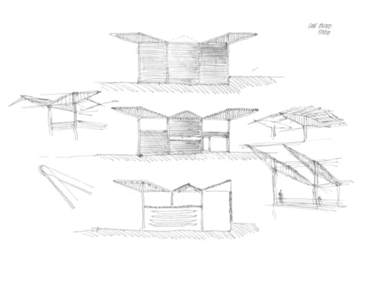 "A sketch of the boathouse ""unfolding."" (Courtesy Foster + Partners)"