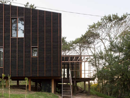 Wood stripes detail black house in rural Uruguay by FRAM Arquitectos and Delfina Riverti