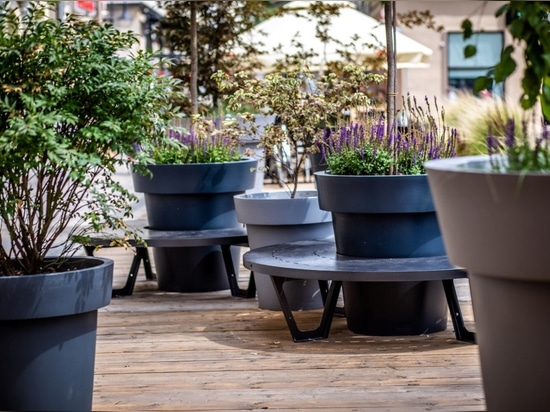 modern public space furniture - benches and flower pots terracityeu