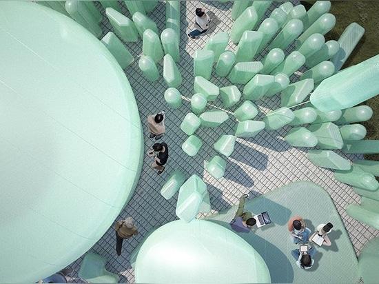 sknypl inflates sculptures for urban garden in korean rooftop