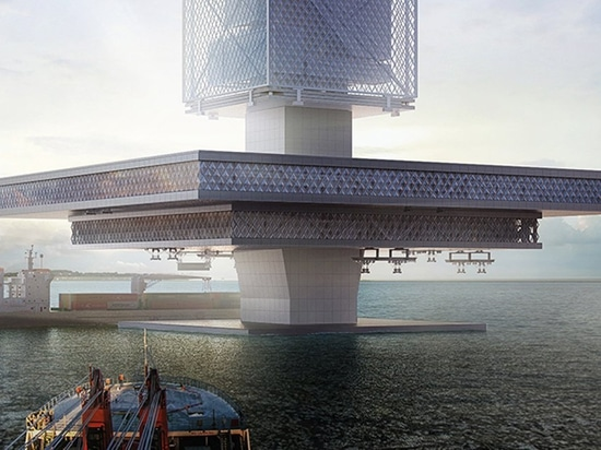 FILTRATION is a floating skyscraper envisioned to recycle ocean garbage