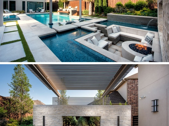 A Sunken Lounge, A Cantilevered Deck, And A Spa With A Fireplace Help Give This Pool A Luxurious Resort-Like Feeling