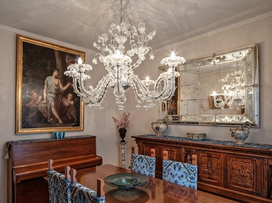 Villa Borghese Murano chandeliers for private villa in Franciacorta area