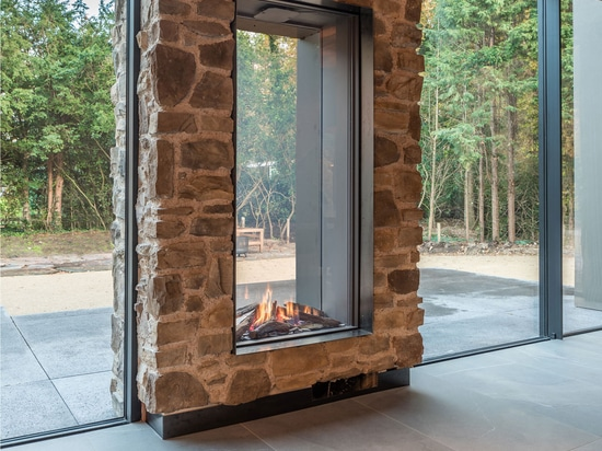 3. An indoor-outdoor design fireplace