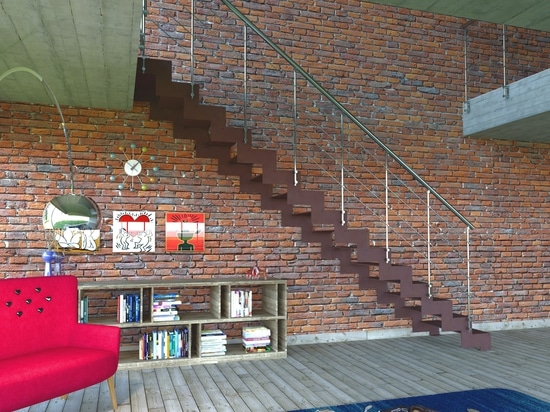 Straight staircase with steps and metal rack structure