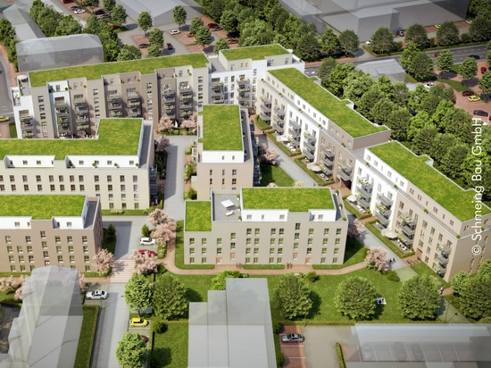 The residential development Noltemeyer Hoefe in Braunschweig is characterised by a stormwater management roof of 5,780 m² as an intensive green roof and 2,500 m² of extensive green roof with photov...