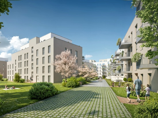 """Anything is possible in terms of landscape design: A wide variety of green areas, pathways and driveways are planned for the """"Stormwater management green roof"""" over the underground garage. © Schmei..."""