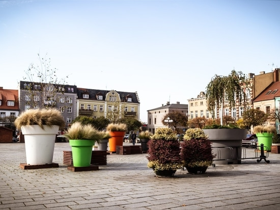 Large flower pots and flower towers byTerra Group