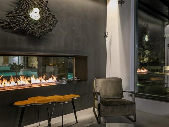 Dream House with window fire in Mykonos, Greece