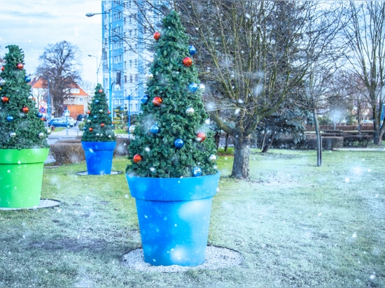 CHRISTMAS COVERS ON THE big flower pots terrachristmas