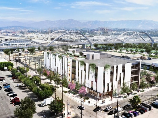 The rooftop space of Produce LA will have views from the Downtown skyline to the adjacent Sixth Street Viaduct and the Los Angeles River