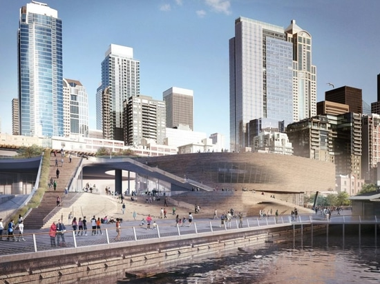 LMN Architects' design for the Seattle Aquarium's new Ocean Pavilion includes a generous outdoor plaza overlooking Elliott Bay
