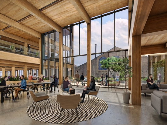 Exposed structural timber will be the focal point of the interior. (Courtesy Brookfield Properties and Design Distill)