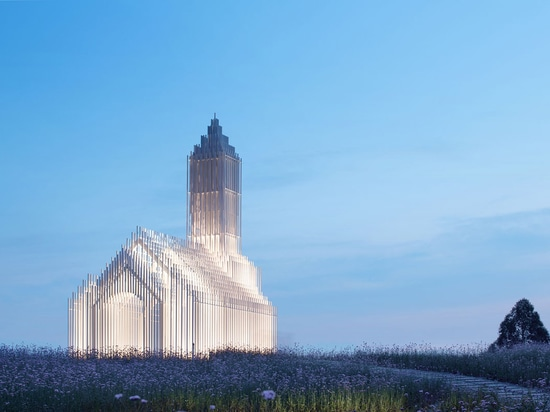 A Church Made Of Thousands Of White Thin Beams Looks Like Suspended In The Air In Lavender Field